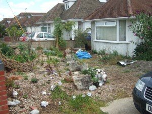 Uncultivated front garden