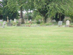 Village graveyard, flowers on the graves