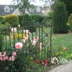 Garden gate, leading to lawn, flower beds and shrubs